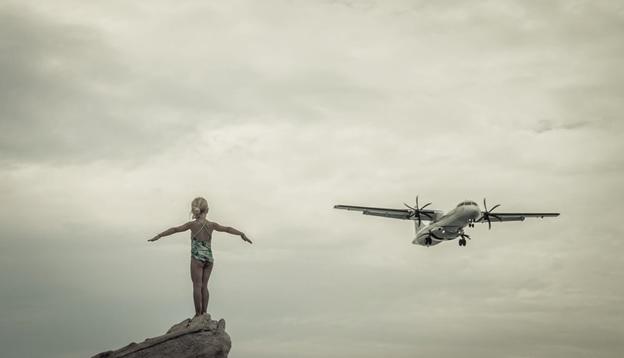 girl and plane